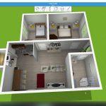 2 Bed 1 Bath 756 ft² – Home Design 3D